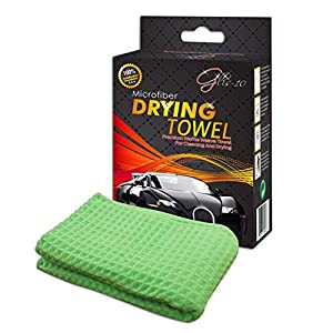 "#1 PREMIUM Microfiber Drying Towel, Big Size 25"" x 40"", 100% MONEY BACK GUARANTEE! Lint Free Waffle Weave Cloth for Car Wash, Scratch & Streak Free. Light Green, Easy Wring Outs. Perfect for cleaning Auto, Vehicle, Bike, Kitchen, Hair, Bathroom, Indoor, S"