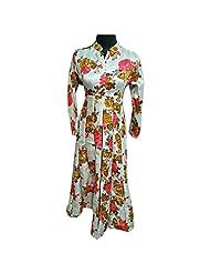 Off White Printed Raw Silk Designer Party Wear Kurti Semi Stitched