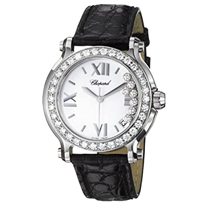 Chopard Happy Sport Round Ladies Black Leather Strap Diamond Watch 278475-3037