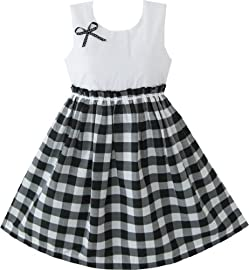 White  Dress on Girls Dress Black And White Tartan Kids Sundress Size 4 10 Nwt