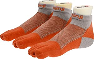 injinji Men's Performance Mid Weight Mini Crew Socks, Orange, Large (3 pack)