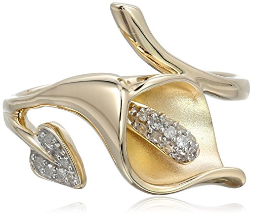 10K Yellow Gold Calla Lily Diamond Ring (1/10 Cttw, I-J Color, I2-I3 Clarity), Size 7