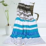 Onitiva - [Stripes - Blue Fairy] Soft Coral Fleece Patchwork Throw Blanket (59 by 78.7 inches)