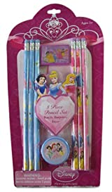 Princess 8 Piece Pencil Set: Pencils, Sharpener and Eraser