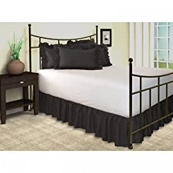 Super Soft Solid Black King Size Ruffle Bed Skirt 100% Cotton