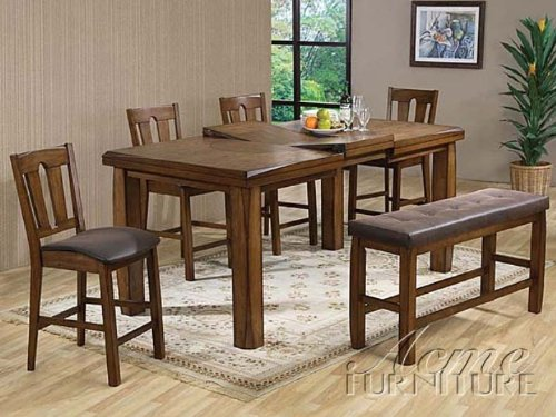 Buy Low Price AtHomeMart Dark Oak Wood Counter Height Dining Table 6 PC Set (ACME0845_0846_0847_6PC