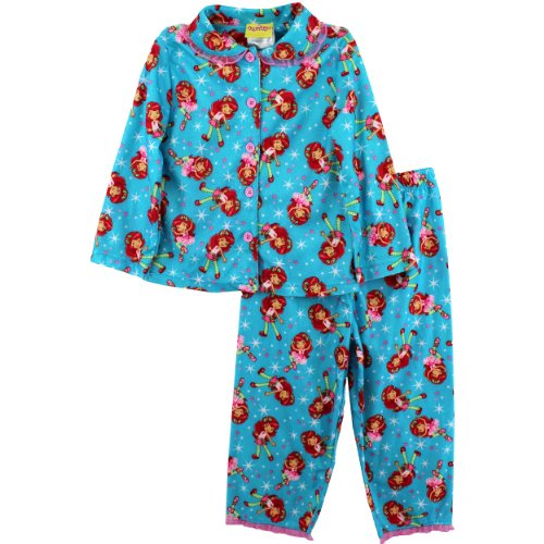 """Strawberry Shortcake """"Strawberry Sweet"""" Teal Flannel Coat Pajamas 4-6/6X (6/6X) front-701330"""