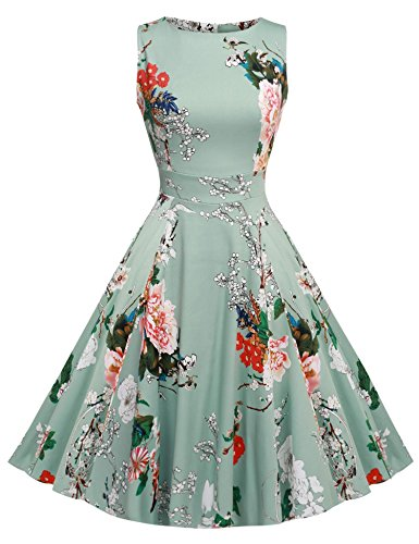 ACEVOG Women Elegant Vintage Evening Cocktail Party Floral Print Dress Light Gray XL