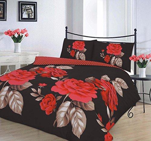 New Isabella piumone/trapunta, Set biancheria da letto matrimoniale Isabella, colore: nero/rosso
