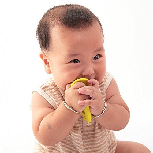 Mombella® Food Grade Soft Silicone Teething Toy,a Teether and a Toothbrush, For Babies 3M+, 2 Colors Available, Lemon