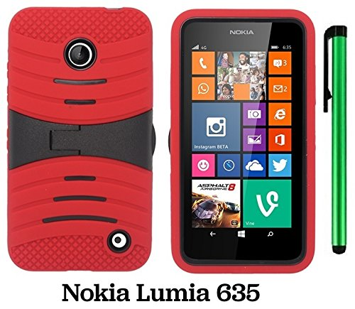 Premium Ucase With Kickstand Cover Case For Nokia Lumia 635 (Us Carrier: T-Mobile, Metropcs, And At&T) + 1 Of New Assorted Color Metal Stylus Touch Screen Pen (Red / Black)