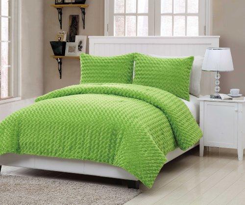 Victoria Classics Rose Fur 3-Piece Comforter Set, Full, Green