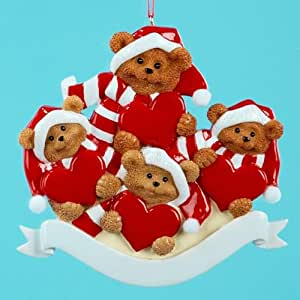 "Kurt Adler 3.75"" Resin Bear Family OF Four Ornament"