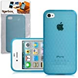 CNL Protective Hexagonal Gel Cover Case Skin for the Apple iPhone 4 / 4S Mobile Phone (Blue)