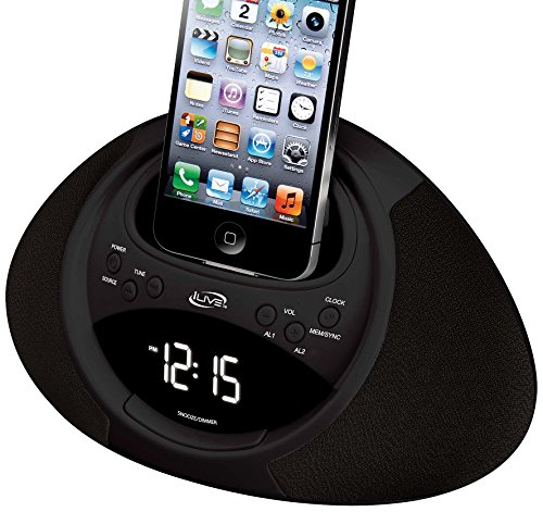 iLive iCP122B Clock Radio with Dock for iPhone/iPod with 30-Pin Connector, 20 FM Presets and LCD Display (Black)