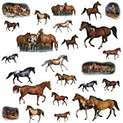 [Best price] Kids&#039 - RoomMates RMK1017SCS Wild Horses Peel and Stick Wall Decals - toys-games