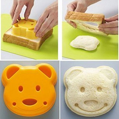 New Little Bear Shape Sandwich Bread Cake Mold Maker DIY Mold Cutter Craft (Size: 9cm by 8cm by 3cm, Color: Yellow)