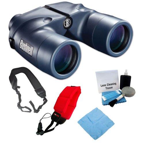 Bushnell 137501 Marine Waterproof 7X 50Mm Binoculars + Foam Float Strap Red + Cleaning Cloth + Lens Cleaning Kit + Wide Strap