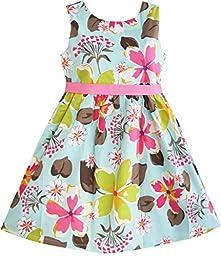 Sunny Fashion Girls Dress Blue Flower Print Size 7-8