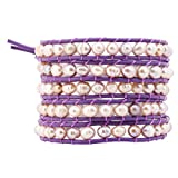 Lilac Long Stackable Dyed Pink Freshwater Cultured Pearl Wrap Bracelet