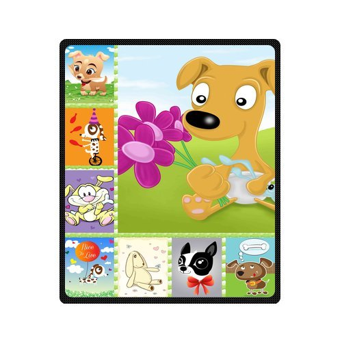 "Personalized Cute Dogs Jigsaw Blanket 50""X 60""(Medium) front-825662"