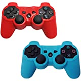 HDE 2 Pack Protective Silicone Gel Cover Skin for Sony Playstation 3 PS3 Gaming Controllers (Red + Sky Blue)