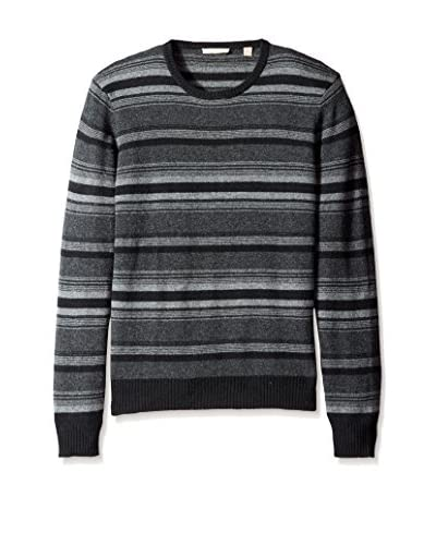 Cashmere Addiction Men's Micro Stripe Crew Neck Sweater
