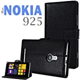 YESOO Nokia Lumia 925 Folio Leather Case Flip Cover and Stand (Black)