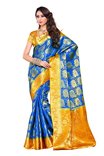 Mimosa Women\'s Traditional Art Silk Saree Kanchipuram Style, color :Royal Blue(3247-201-RBLU-GLD)