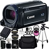 Canon VIXIA HF R600 Full HD Camcorder (Black) 27PC Accessory Kit. Includes 0.43X Wide Angle Lens + 2.2X Telephoto Lens + 16GB Memory Card + High Speed Memory Card Reader + Replacement BP-718 Battery + AC/DC Rapid Home & Travel Charger + MORE