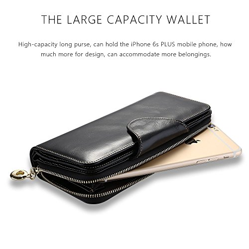 11. TIHON Women's Wallet Genuine Leather Large Trifold Zipper Clutch Case Purse