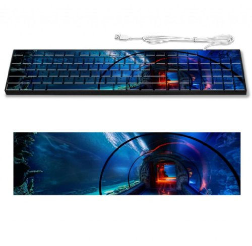 Aquarium Water Pass Glass Tunnel Keyboard Customized Made To Order Support Ready 16 7/8 Inch (430Mm) X 4 7/8 Inch (125Mm) X 15/16 Inch (25Mm) High Quality Msd Key Board Boards Desktop Laptop Key_Board Comfortable Computer Accessories Cute Gaming Gear front-234838