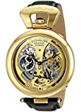 Stuhrling Original Men's Special Reserve Emperor's Grandeur Automatic Skeleton Dual Time Gold Tone Dial Watch 127A.333531