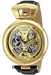 Stuhrling Original Men's 127A.333531 Special Reserve Emperor's Grandeur Automatic Dual Time Skeleton Gold Tone Watch