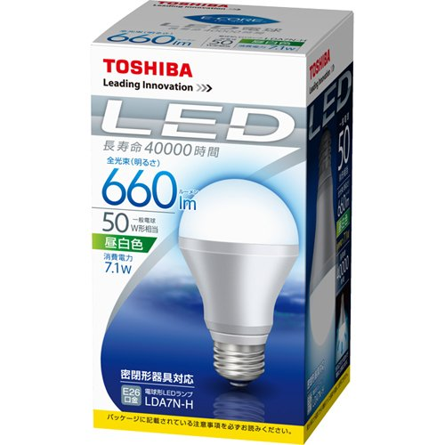Toshiba e-core (e/ядро) Светодиодные лампы лампы серии 7.1 W (E26 Cap / 660 лм / белый день) LDA7N-H