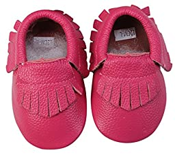 Unique Baby 100% Genuine Leather Baby Moccasins Anti-Slip Shoes XS (4.5 inches) Pink