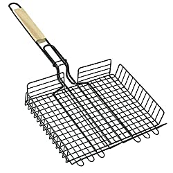 Non Stick BBQ Barbecue Square Wire Grill Pan Basket with Wooden Handle
