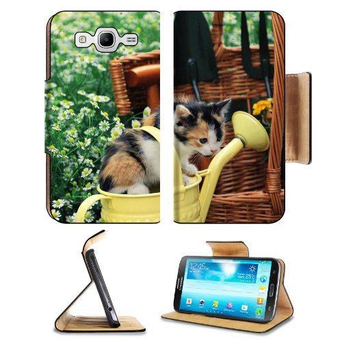 Kitten Watering Can Spotted Sitting Toddler Samsung Galaxy Mega 5.8 I9150 Flip Case Stand Magnetic Cover Open Ports Customized Made To Order Support Ready Premium Deluxe Pu Leather 6 1/2 Inch (165Mm) X 3 2/5 Inch (87Mm) X 9/16 Inch (14Mm) Liil Mega Cover