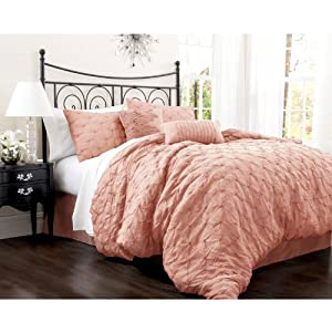 Amazon.com: Lush Decor Lake Como 4-Piece Comforter Set, King, Peach