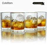 Cutehom Whiskey Glasses Double Wall Manhattan Style Thermo Insulated Glass - Set of 4
