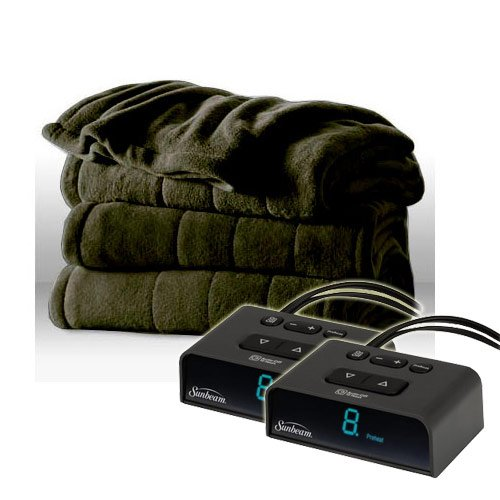 Sunbeam Heated Electric Blanket Channeled Microplush King Size Ivy Green (King Electric Blanket Sunbeam compare prices)