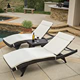 Outdoor Chaise Lounge and Side Table Set (3 Pieces) in Brown Resin Wicker & Metal Frames with Waterproof Beige Cushions - Set Includes 2 Chaise Lounges and 1 Square Side Table