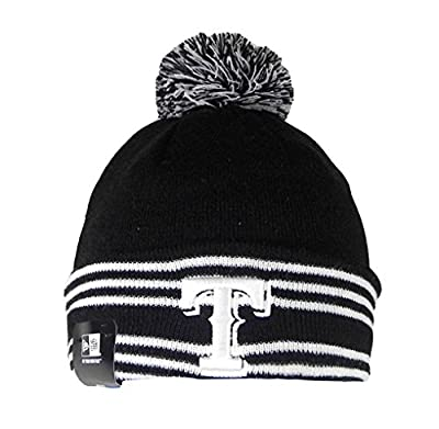 New Era Beanie MLB Sport Knit Headwear Texas Rangers Men Size Hat Pom Pom Black