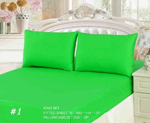 Tachce 3 Piece Bed Sheet Set Green (Fitted Sheet)-King front-515541