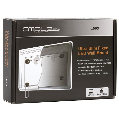 """Cmple - Ultra Slim Fixed Wall Mount For 42""""-70"""" Led, 3D Led, Lcd Tv'S"""