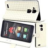 【F.G.S】ホワイト【全5色】 Huawei Ascend Mate7 ケース カバー 手帳型 PUレザー素材 カッドセット スタンド機能付き F.G.S正規代理品