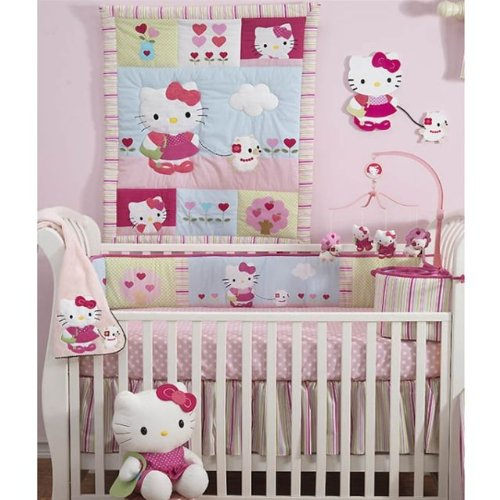 Lambs &amp; Ivy Bedtime Originals Hello Kitty and Puppy 4-Piece Baby Crib Bedding Set, Pink
