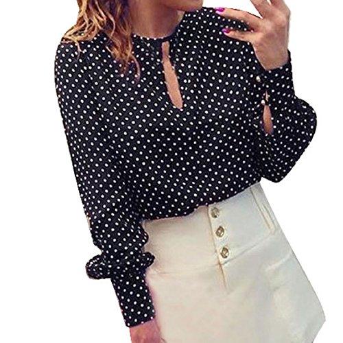 Malloom® Donne Casuali Camicette Maniche Lunghe Di Chiffon Estate Pois Camicia Top (XL)