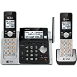 AT&T CL83203 DECT 6.0 Expandable Cordless Phone with Answering System, Caller ID/Call Waiting and Base Speakerphone, 2 Handsets, Silver/Black