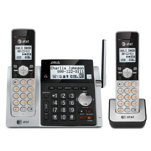 ATT CL83203 DECT 60 Expandable Cordless Phone with Answering System - Caller ID Call Waiting and Base Speakerphone - 2 Handsets - Silver Black